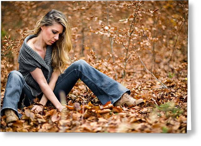 Lady On Leaves Greeting Card by Ralf Kaiser
