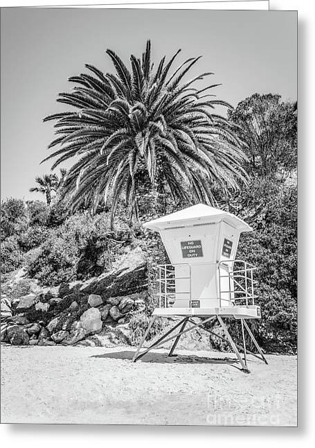Laguna Beach Lifeguard Tower Black And White Picture Greeting Card by Paul Velgos
