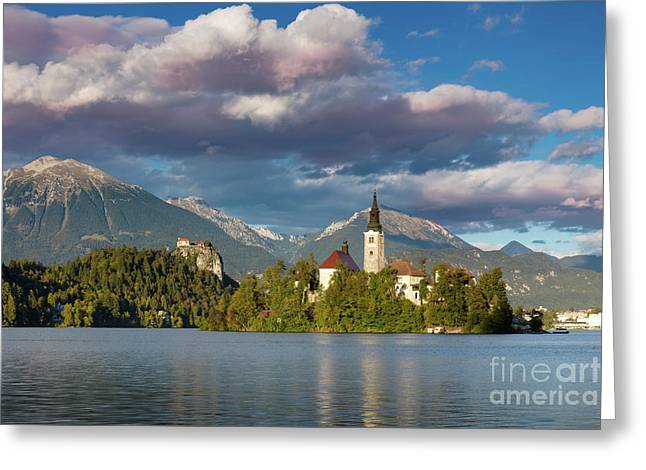 Greeting Card featuring the photograph Lake Bled Evening by Brian Jannsen