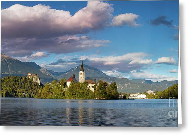 Greeting Card featuring the photograph Lake Bled Panoramic by Brian Jannsen