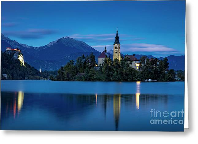Greeting Card featuring the photograph Lake Bled Twilight by Brian Jannsen