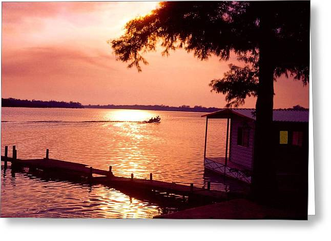Lake Chicot Sunset Greeting Card by John Foote