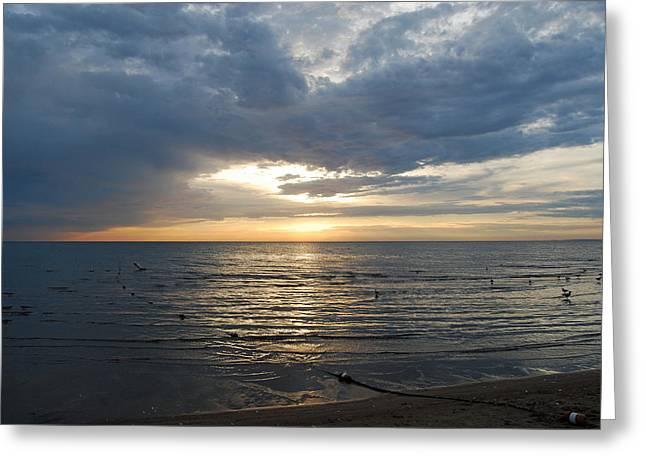 Lake Erie Sunrise Greeting Card by Peter  McIntosh