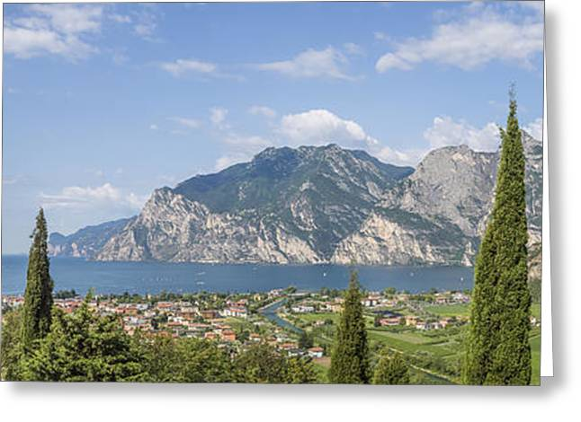 Lake Garda Gorgeous Panoramic View Greeting Card by Melanie Viola
