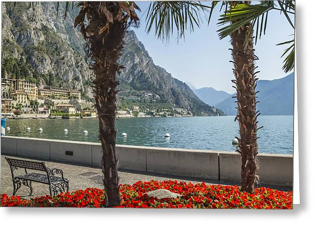 Lake Garda Gorgeous Riverside In Limone Sul Garda Greeting Card by Melanie Viola