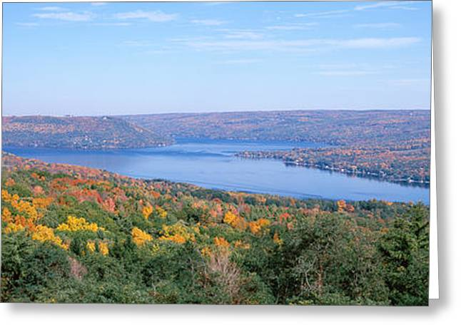Lake Surrounded By Hills, Keuka Lake Greeting Card by Panoramic Images