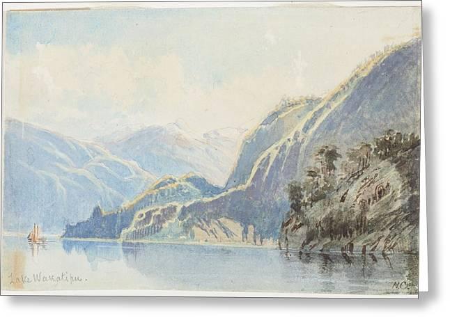 Lake Wakatipu 1866 By Nicholas Chevalier Greeting Card