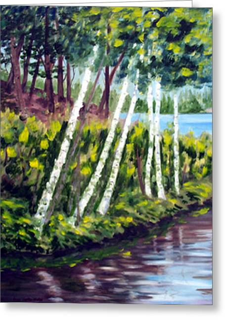 Lakeside Birches Greeting Card by Anne Trotter Hodge