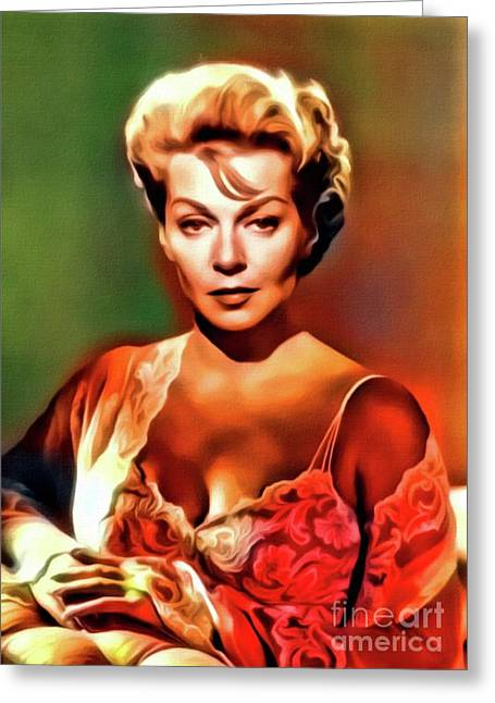Lana Turner, Vintage Actress. Digital Art By Mb Greeting Card