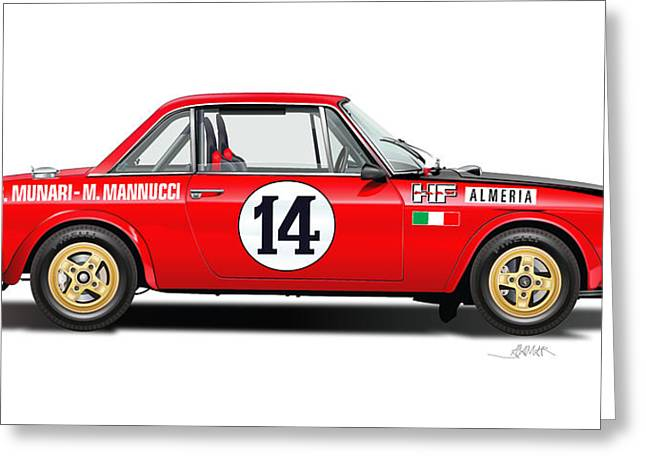 Lancia Fulvia Hf Illustration Greeting Card by Alain Jamar
