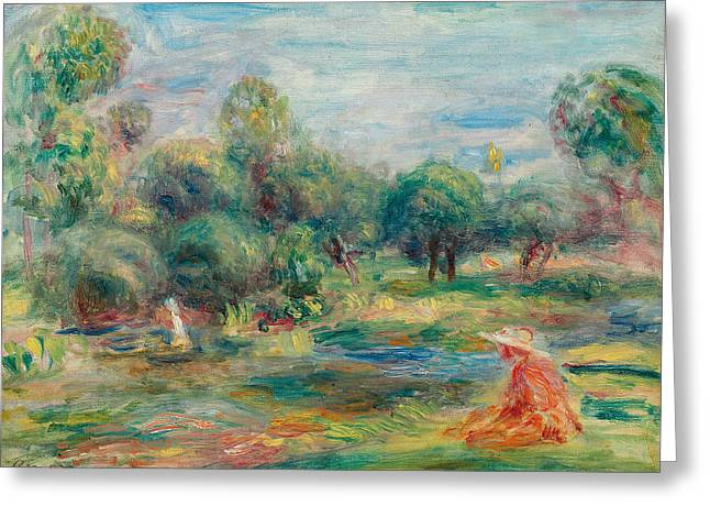 Landscape At Cagnes Greeting Card by Pierre Auguste Renoir