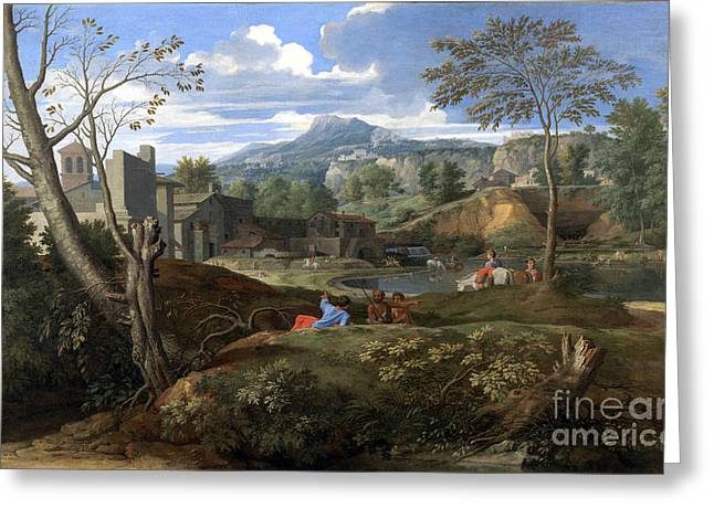 Landscape With Buildings Greeting Card by Celestial Images