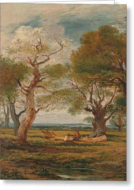 Landscape With Figures Greeting Card by John Linnell