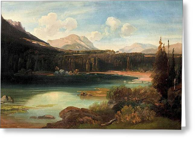 Landscape With Lake Greeting Card by Josef Mayburger
