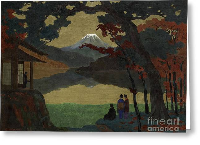Landscape With Mount Fuji In The Distance Greeting Card by Celestial Images