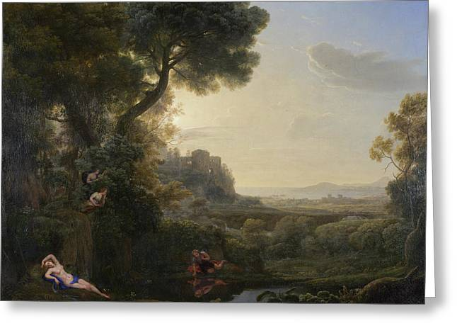 Landscape With Narcissus And Echo Greeting Card
