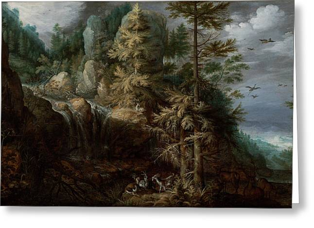 Landscape With The Temptation Of Saint Anthony Greeting Card