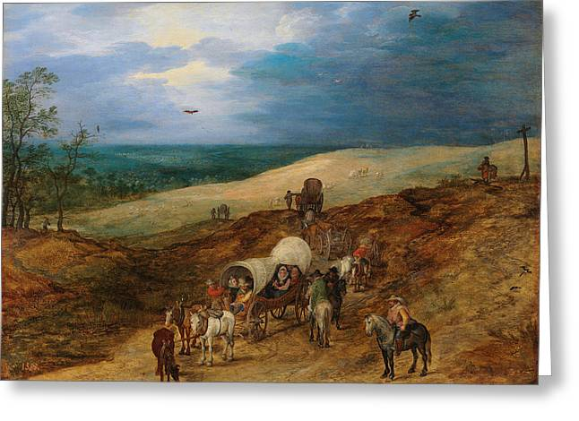 Landscape With Wagons Greeting Card by Jan Brueghel the Elder