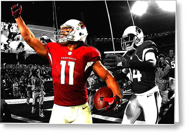 Larry Fitzgerald Greeting Card by Brian Reaves