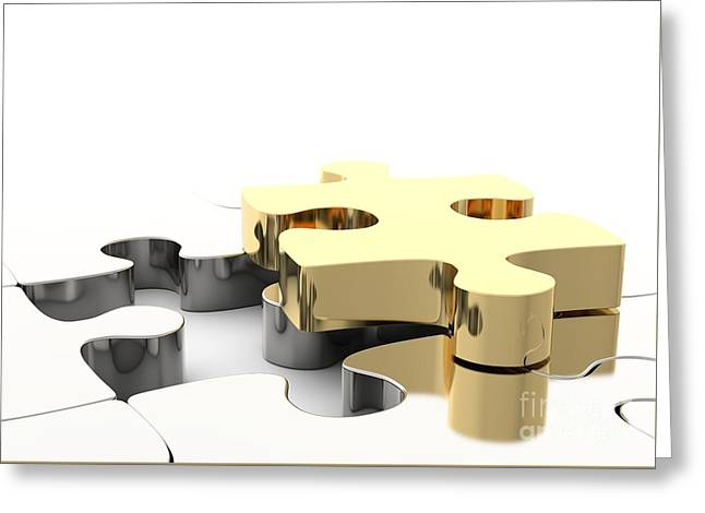 Last Golden Puzzle Piece To Complete A Jigsaw. . Concept Of Business Solution Greeting Card by Michal Bednarek