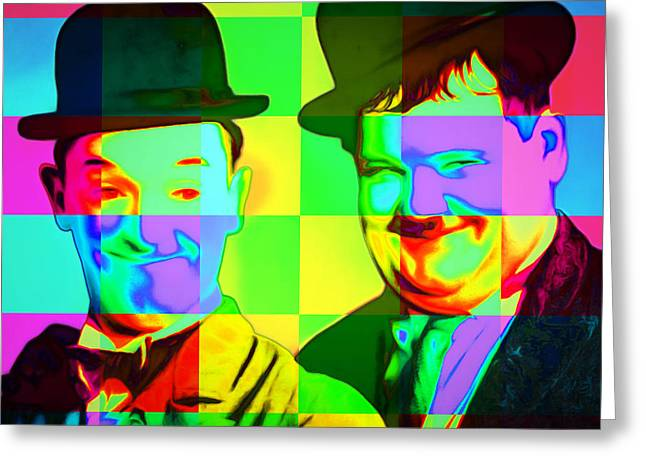 Laurel And Hardy 20160102 Colorsquares Square Greeting Card