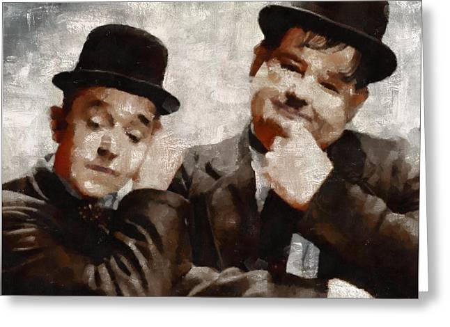 Laurel And Hardy Hollywood Legends Greeting Card