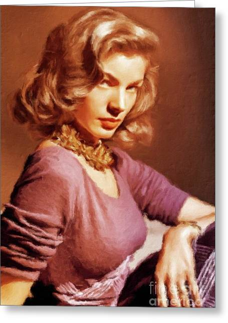 Lauren Bacall Vintage Hollywood Actress Greeting Card by Mary Bassett