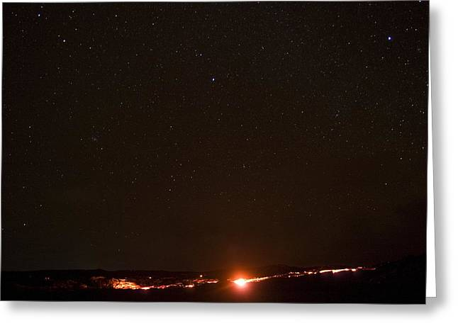 Lava And Stars In Hawaii Greeting Card by Fredrik Schenholm