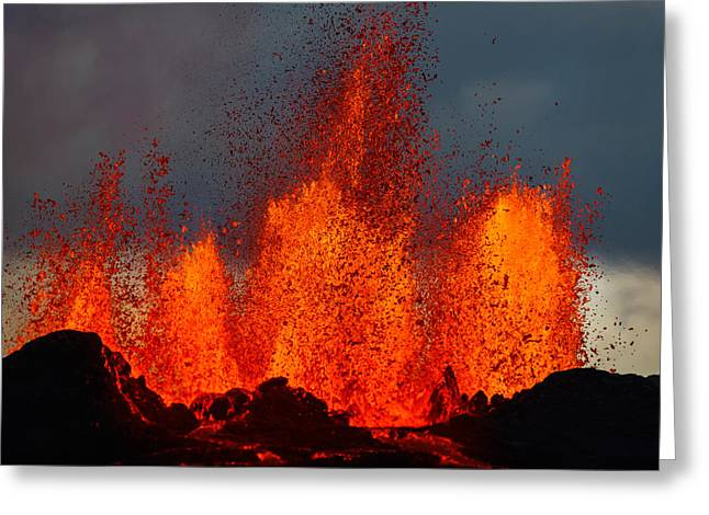 Lava Fountains At The Holuhraun Fissure Greeting Card
