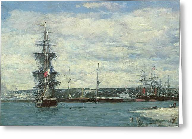 Le Havre Greeting Card by Eugene Louis Boudin