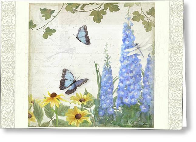 Le Petit Jardin 1 - Garden Floral W Butterflies, Dragonflies, Daisies And Delphinium Greeting Card