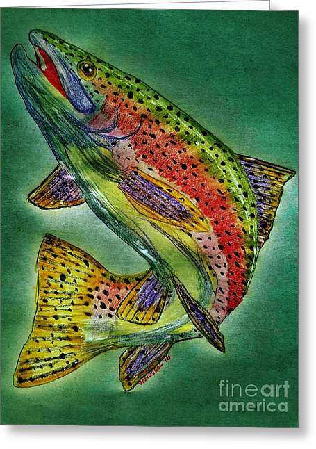 Leaping Trout Greeting Card by Scott D Van Osdol