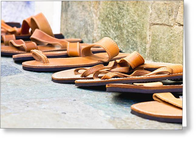 Leather Sandals Greeting Card