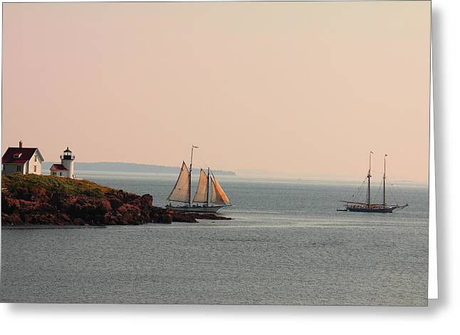 Leaving Camden Harbor Greeting Card by Doug Mills