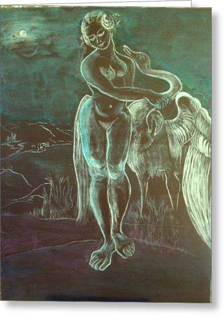 Leda And The Swan Greeting Card by Michele D B