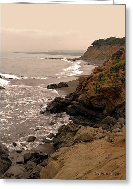 Leffingwell Landing Cambria Greeting Card by Barbara Snyder