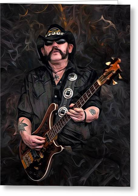 Lemmy Kilmister With Guitar Greeting Card