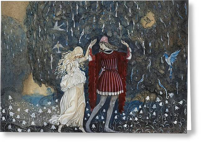 Lena Dances With The Knight Greeting Card