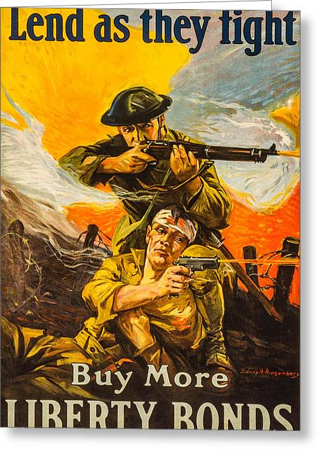 Lend As They Fight Greeting Card by David Letts