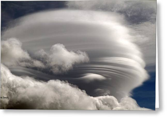 Lenticular Clouds Greeting Card by Donna Kennedy