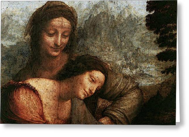 Leonardo Da Vinci The Virgin And Child With St Anne  Greeting Card