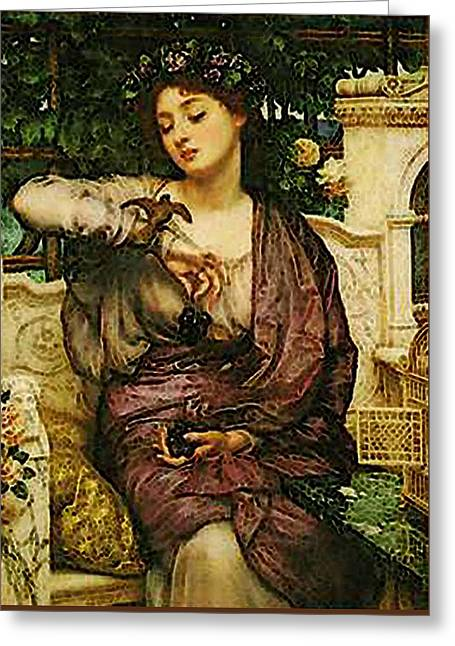 Lesbia And Her Sparrow   Greeting Card