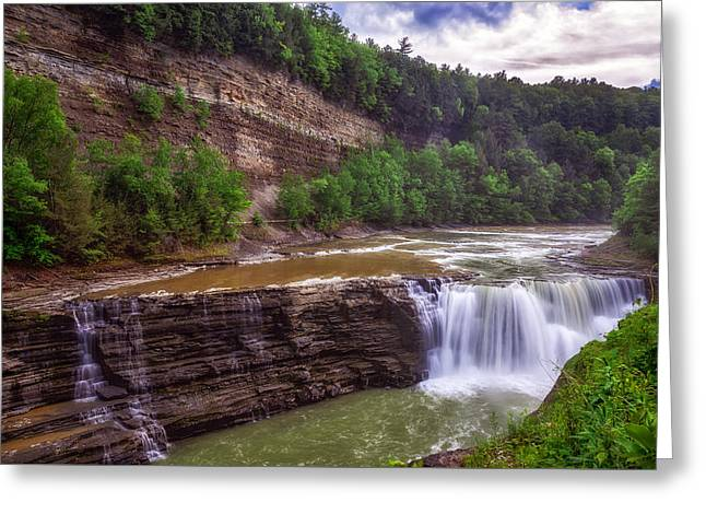 Greeting Card featuring the photograph Letchworth State Park Lower Falls by Mark Papke