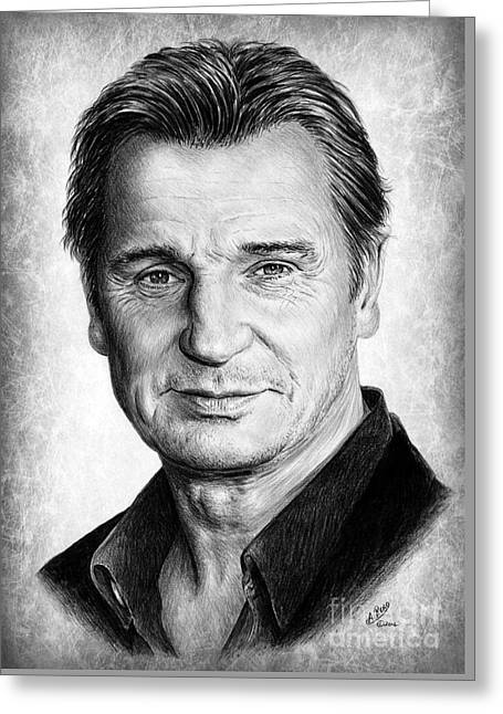 Liam Neeson Greeting Card by Andrew Read