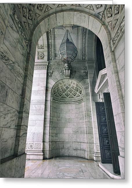 Greeting Card featuring the photograph Library Portico by Jessica Jenney