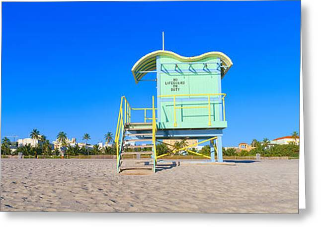 Lifeguard Station At South Beach, Miami Greeting Card by Panoramic Images