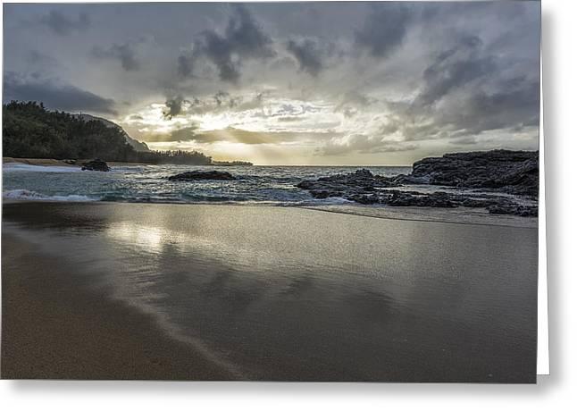 Light Shining On The Beach Greeting Card