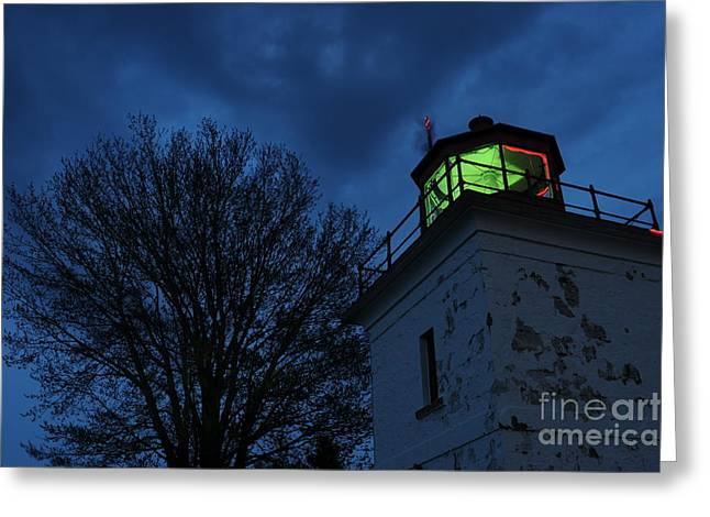Lighthouse At Night Greeting Card by Joe  Ng