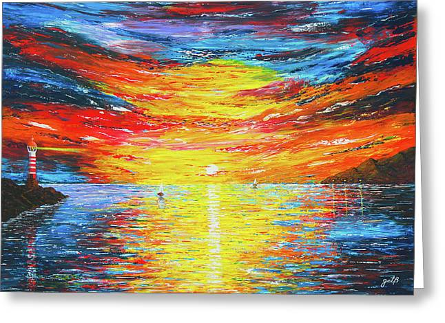 Greeting Card featuring the painting  Lighthouse Sunset Ocean View Palette Knife Original Painting by Georgeta Blanaru