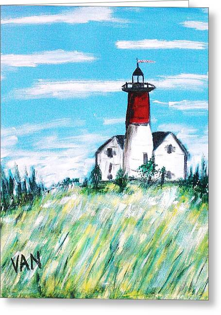 Lighthouse Greeting Card by Van Winslow